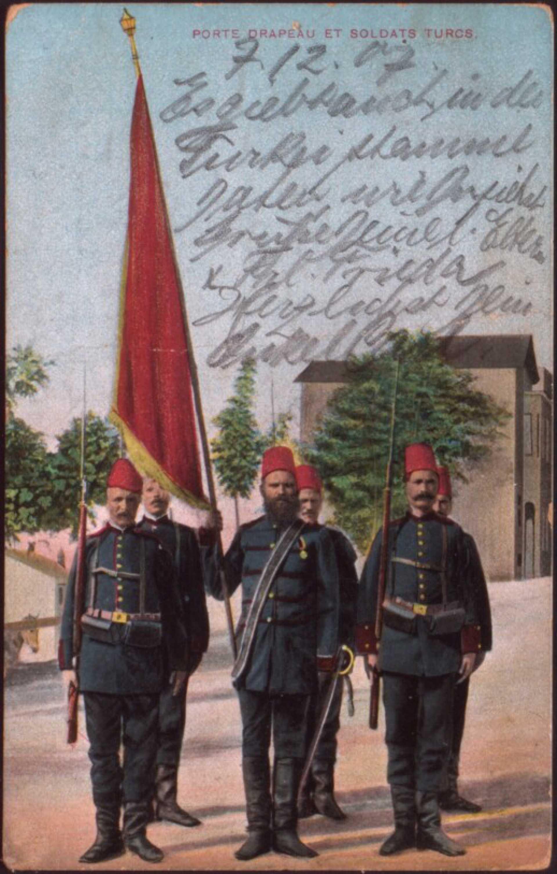 Porte drapeau et soldats turce