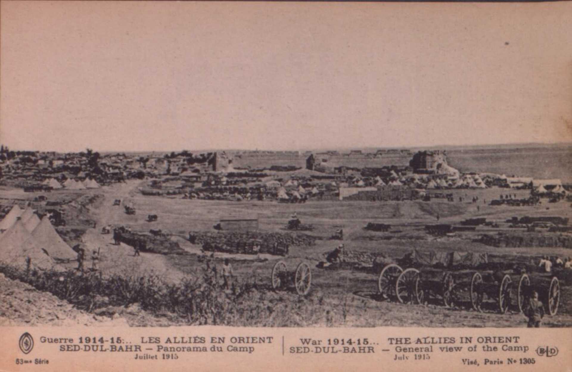 Guerre 1914-15… Les Allies en orient Sed-Dul-Bahr – Panorama du Camp. Juilet 1915