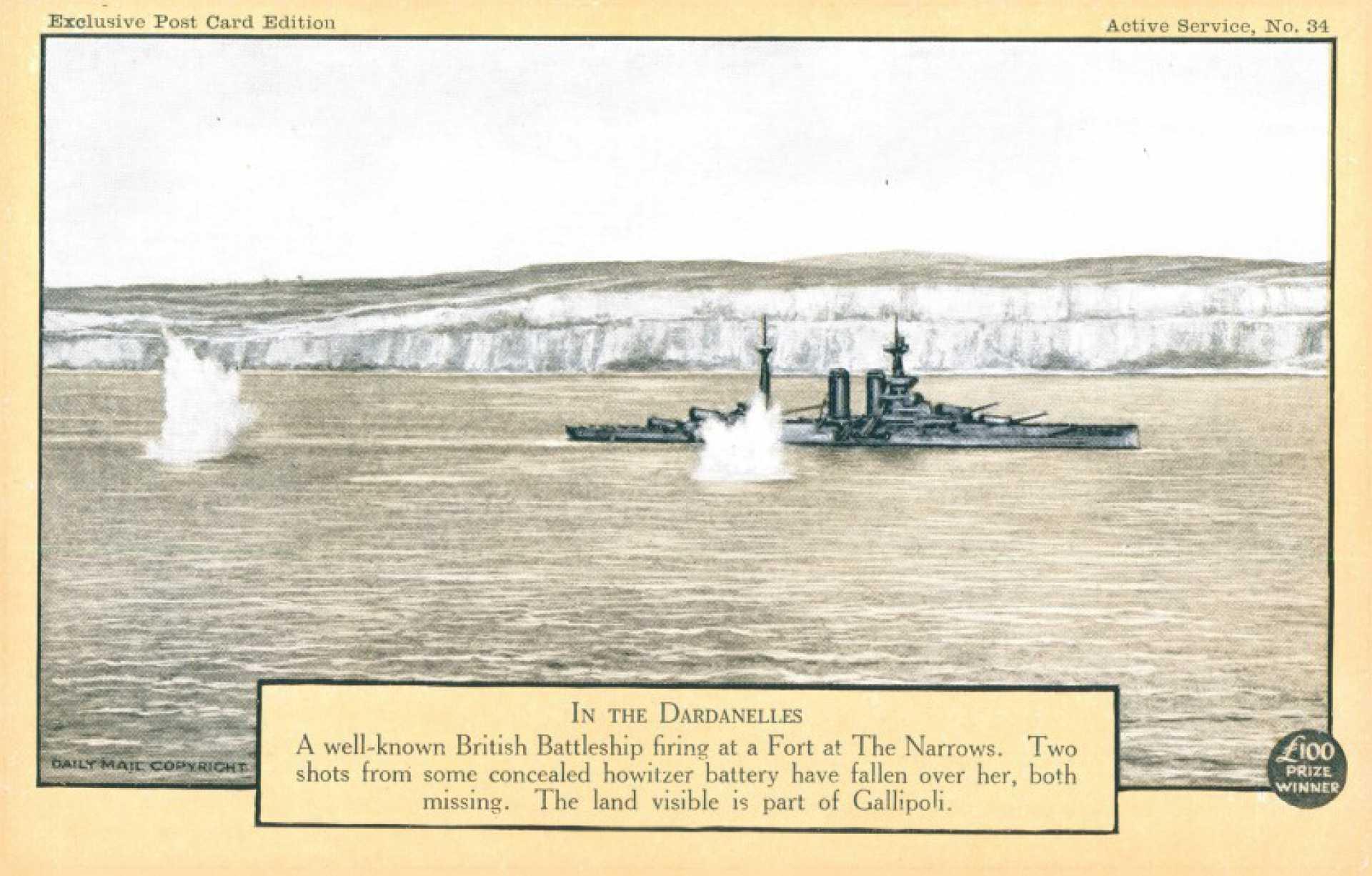 British Battleship firing at a Fort at the Narrows.