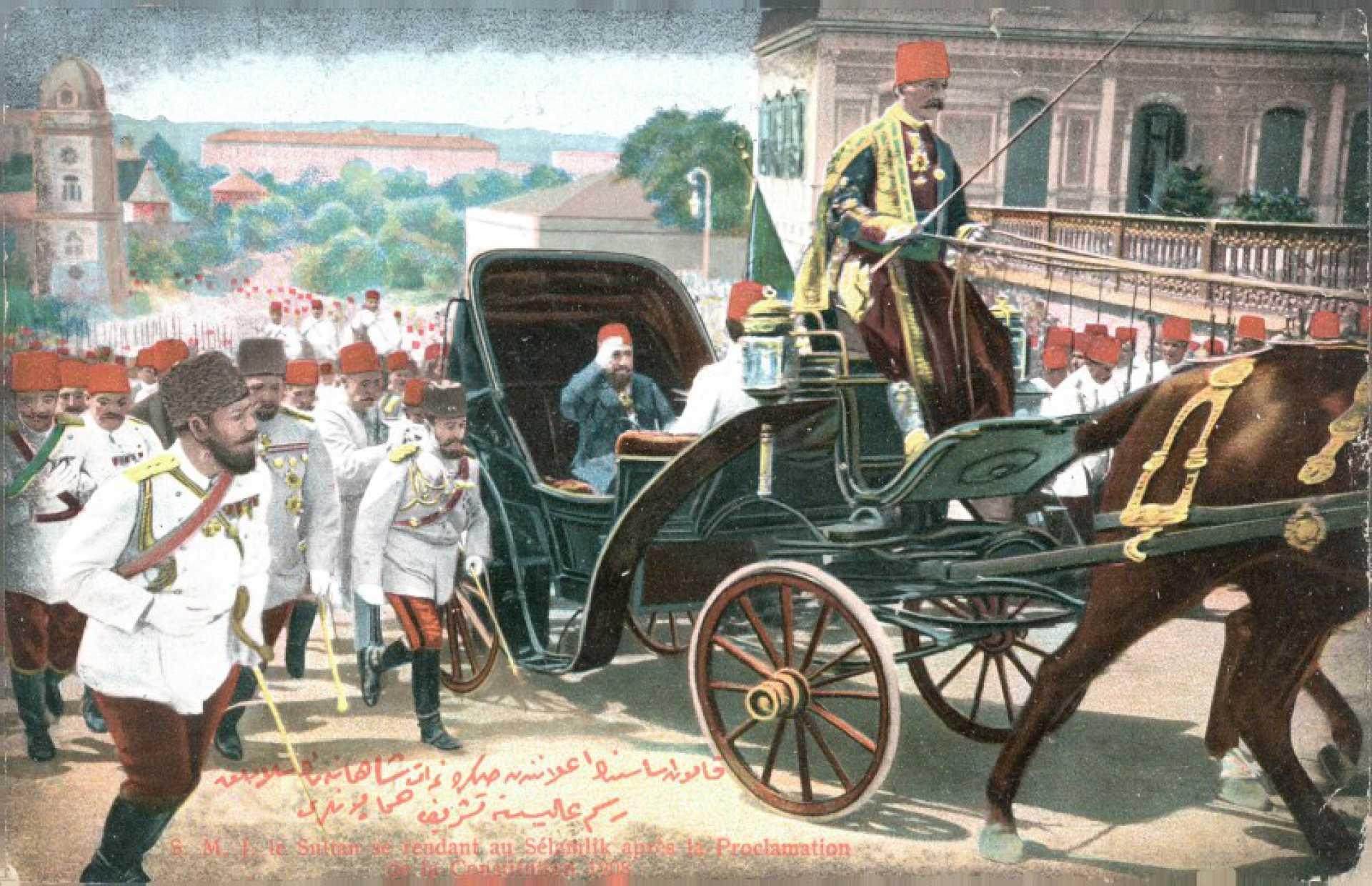 S.M.I. le Sultan se rendant au Selamlik apres la Proclamation