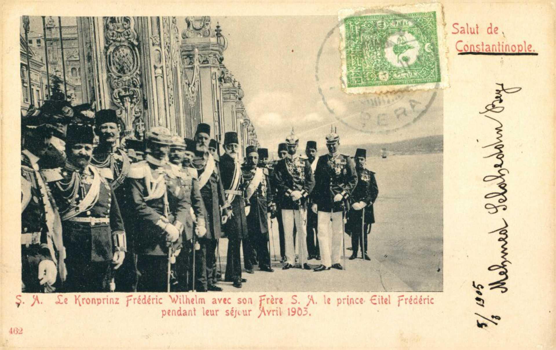 S.A. Le Kronprinz Frederic Wilhelm avec son Frere S.A. le prince Eitel Frederic pendant leur sejour