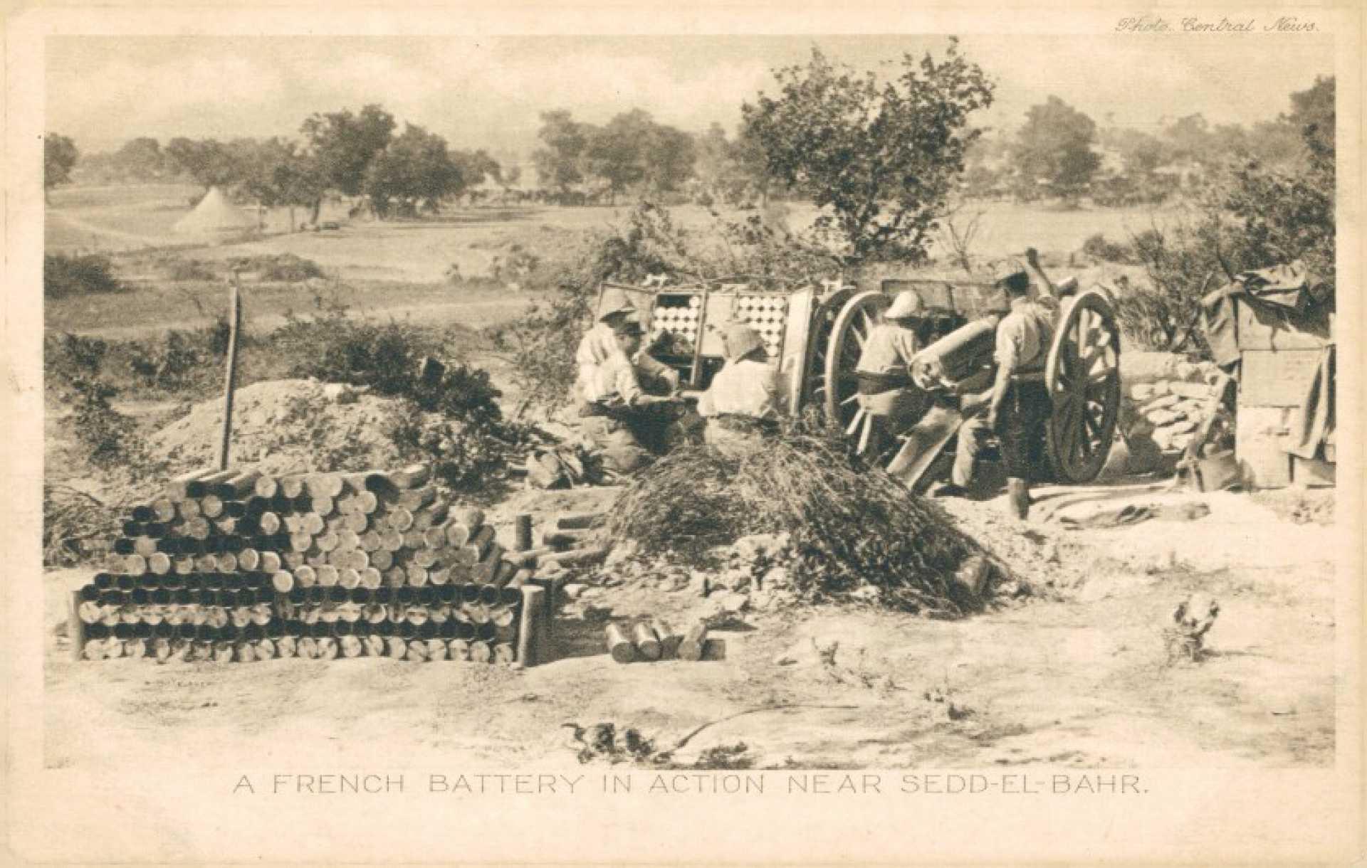 A french battery in action near Sedd-el-Bahr