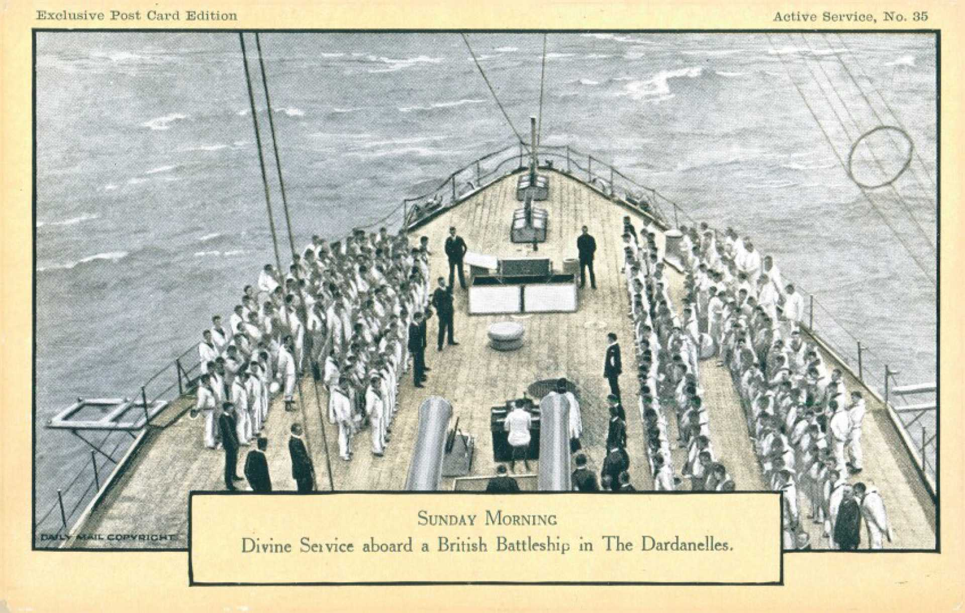 Sunday morning. Divine sevice abroad a British battleship in the Dardanelles