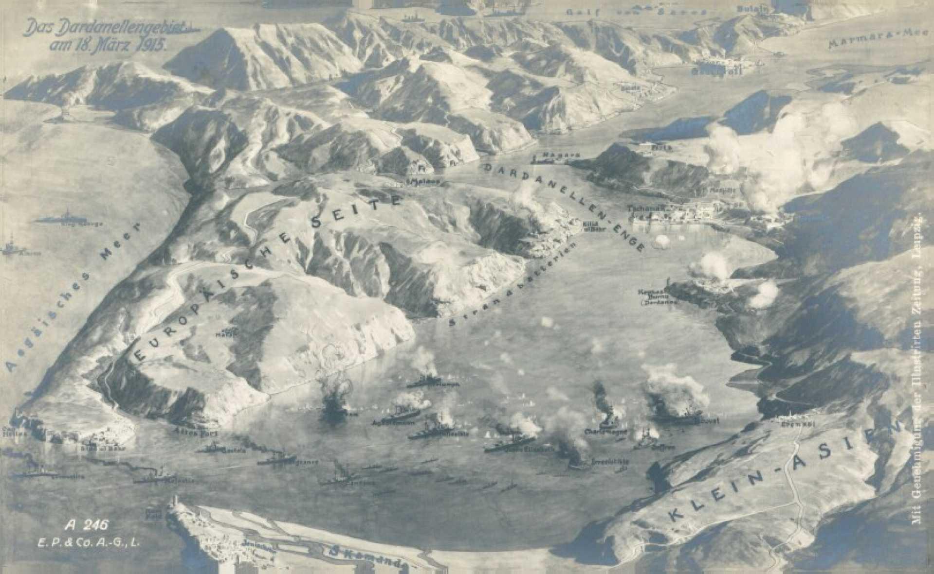 Das Dardanellengebiet am 18 Marz 1915