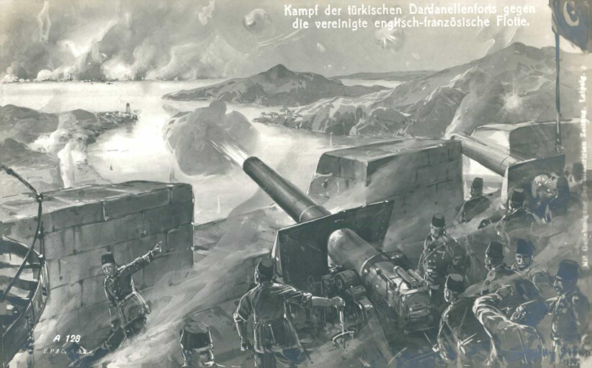 Kampf der türkischen Dardanellenforts gegen die vereinigte englisch-französische Flotte