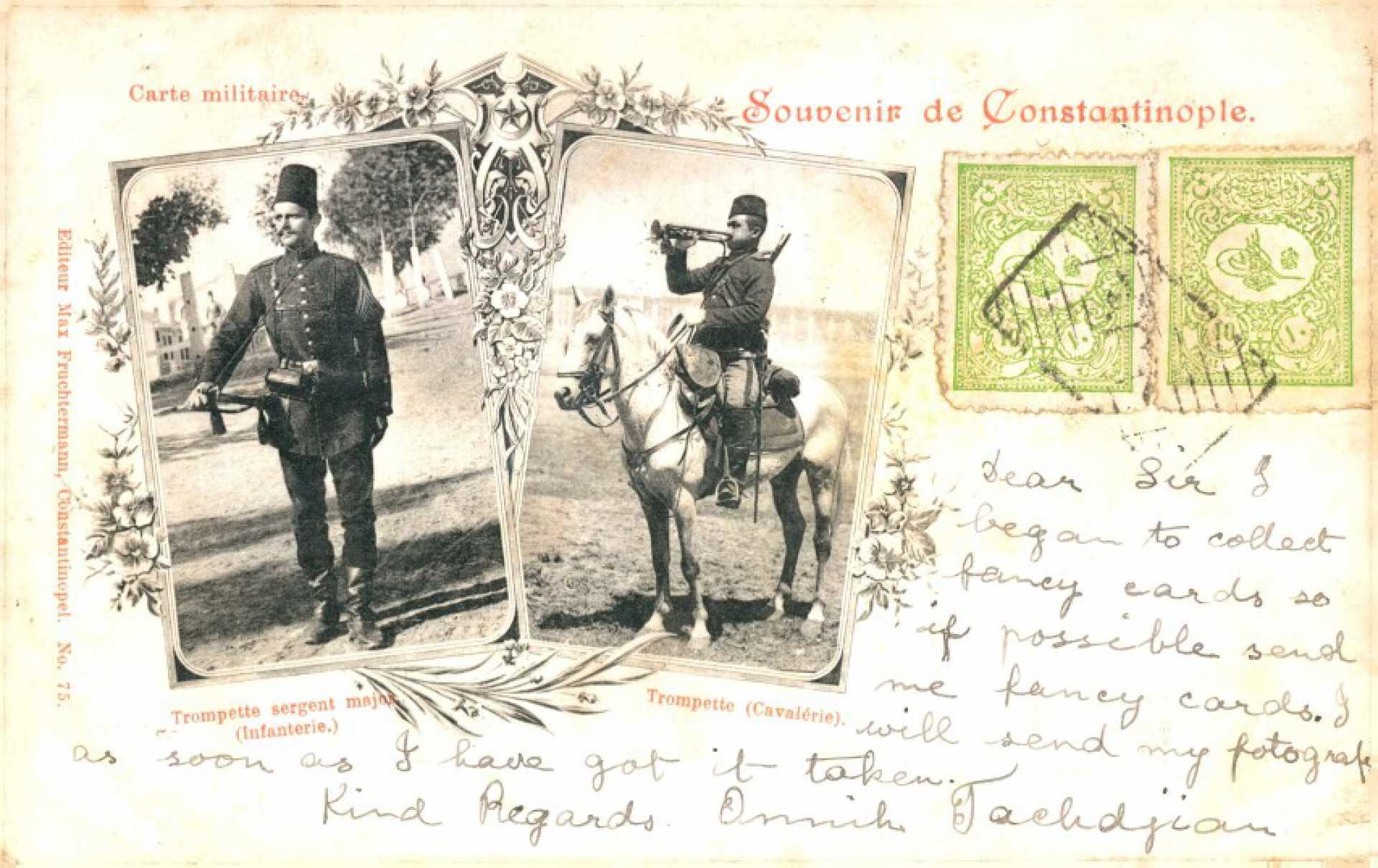 Carte militaire. Trompette sergent major  (İnfanterie.) Trompette ( Cavalerie)