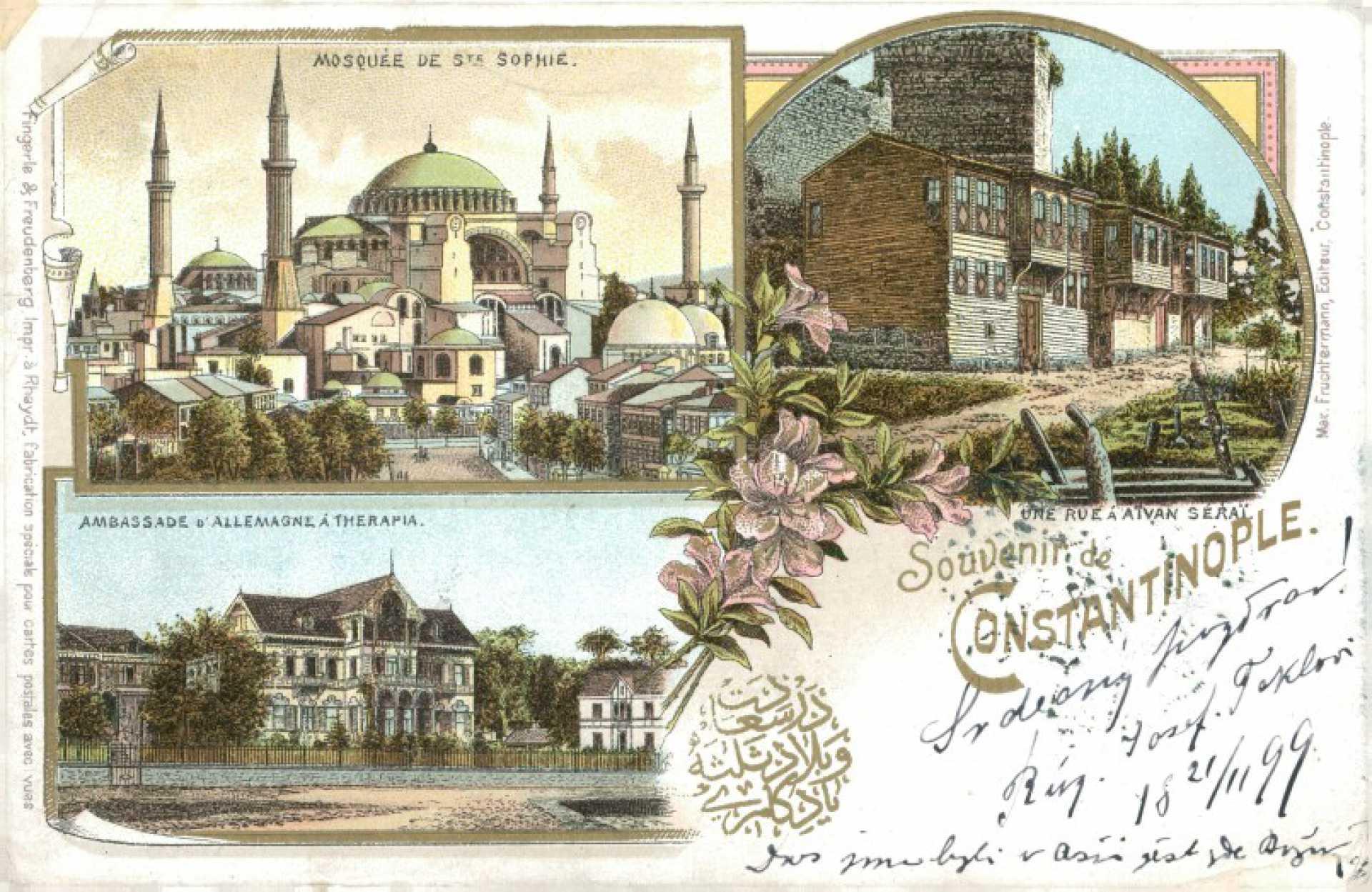 Mosquee de Ste Spohie. Ambassade d' Allemagne A Therapia. Une Rue a Atvan Serai