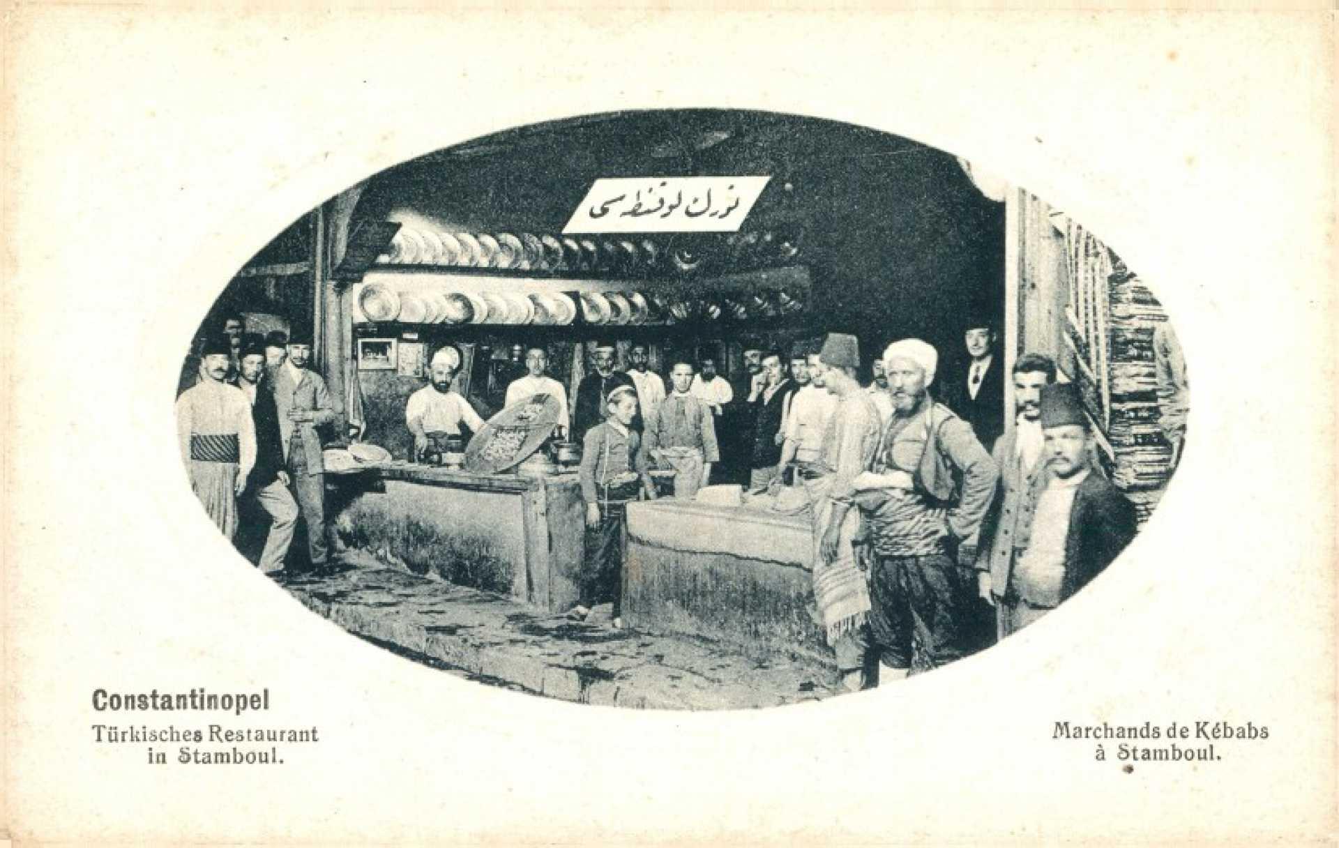 Türksches Restaurant in Stambul. Marchands de Kebabs a Stamboul