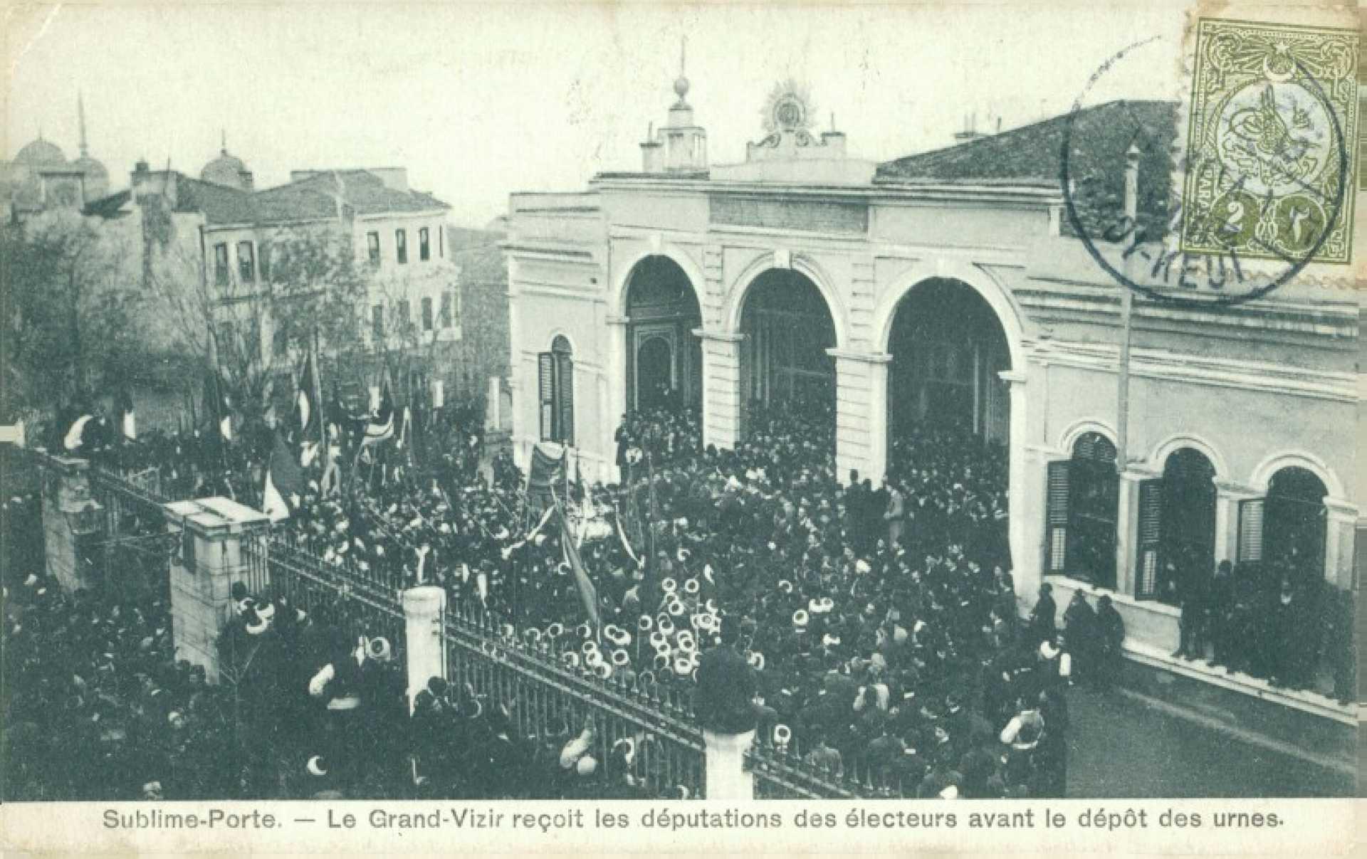Sublime-Porte. – Le Grand-Vizir reçoit les deputations des electeurs avant le depot des urnes