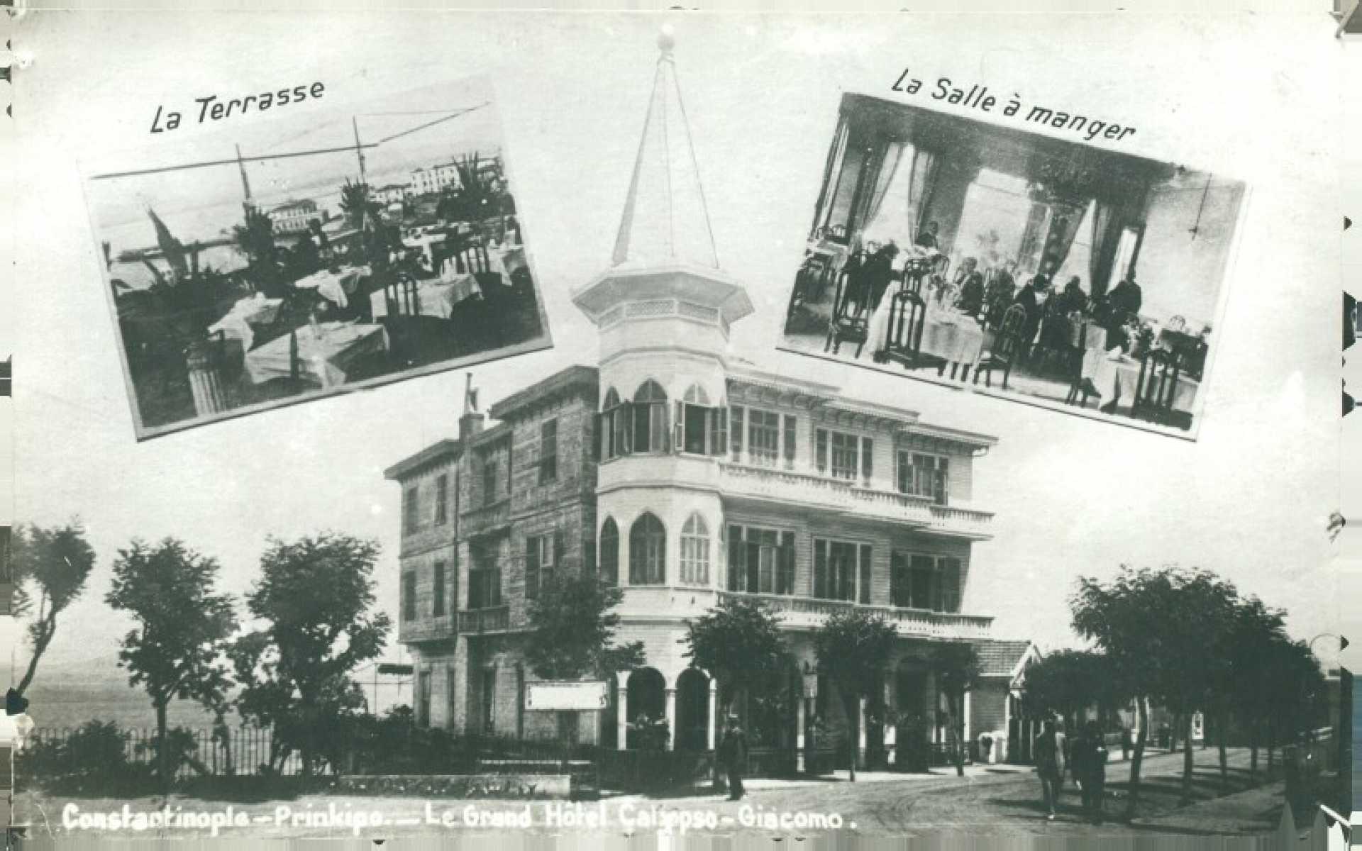 Constantinople- Prinkipo- Le Grand Hotel Calypso Giacomo. La Terrase  La Salle a manger