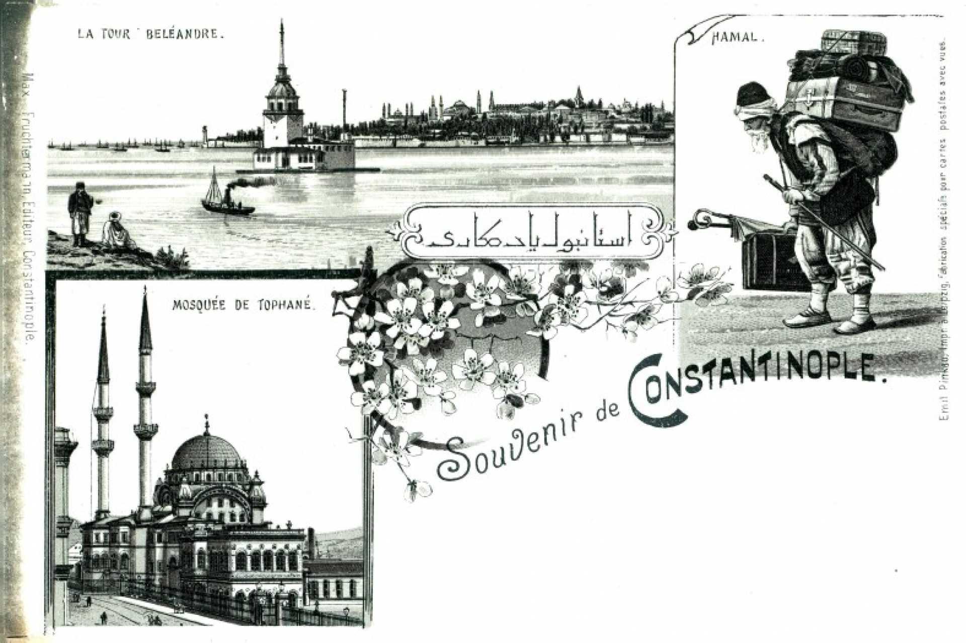 Souvenir de Constantinople. Hamal  La Tour Beleandre  Mosquee de Tophane