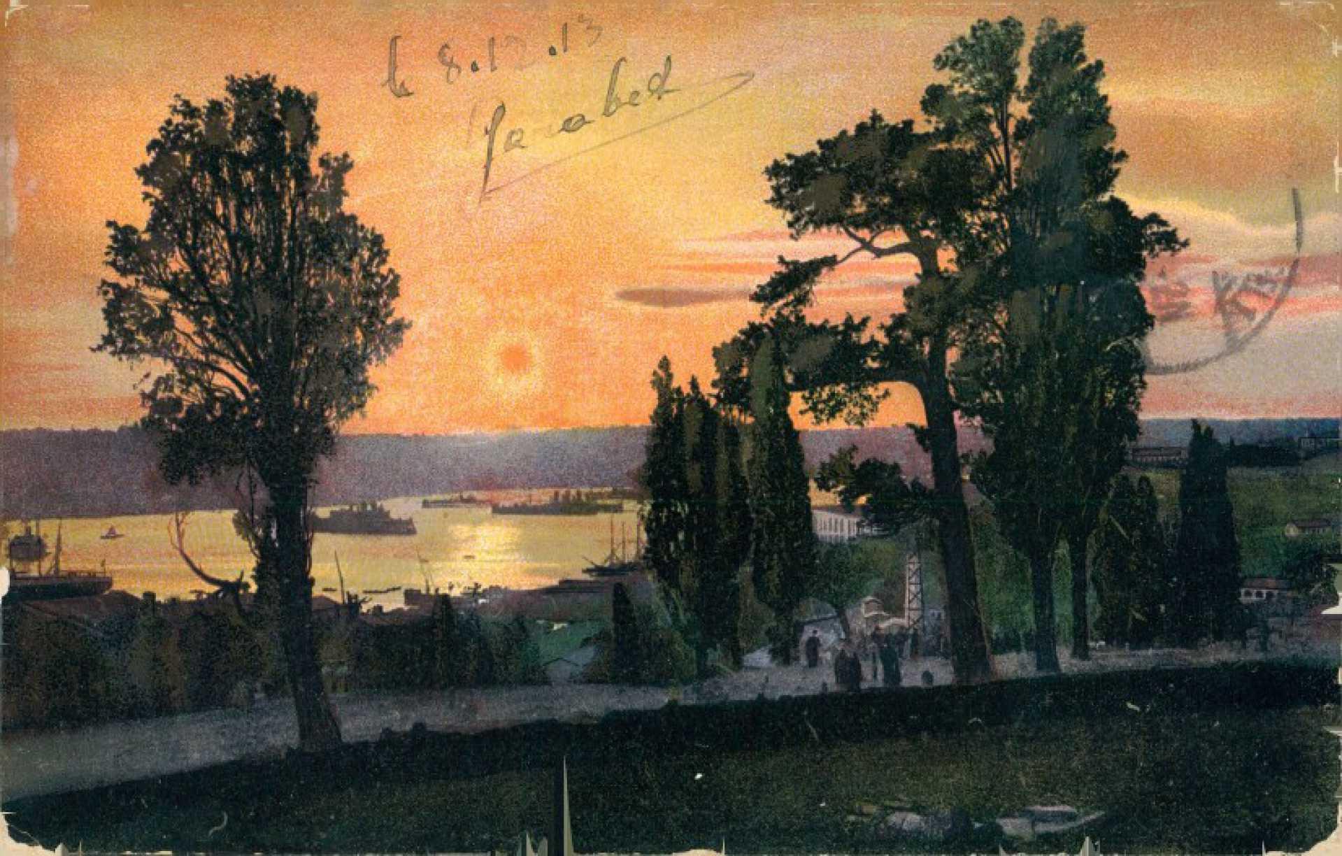 Constantinople. Coucher de soleil sur la Corne d'Or
