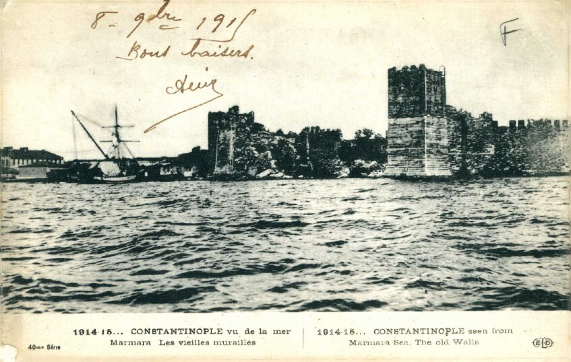 1914-15… Constantinople vu de la mer Marmara Les vielles murailles. 1914-15 Constantinople seen from Marmara Sea. the old Walls