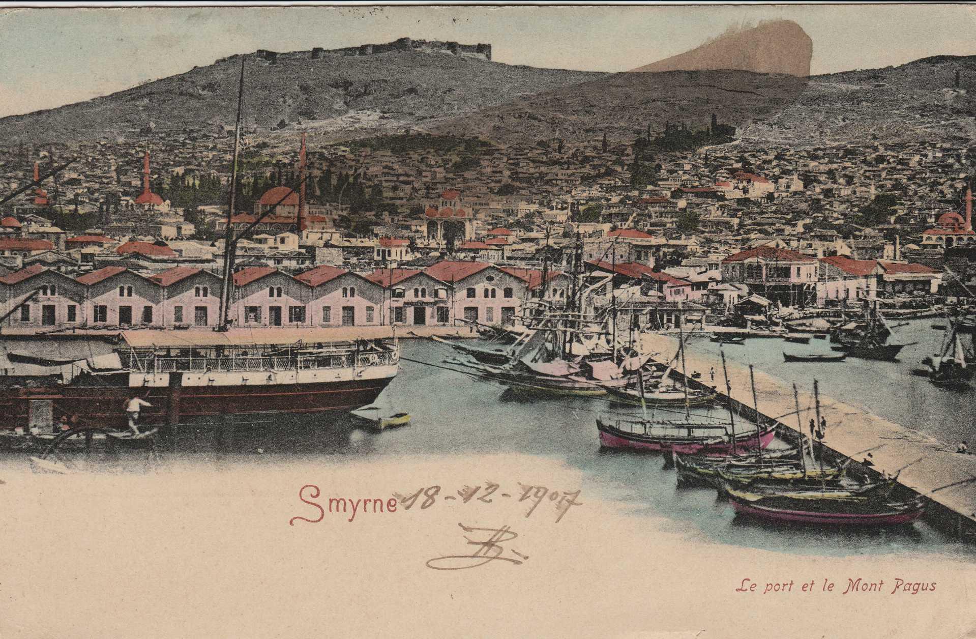 Smyrne le port et le mont pagus & İzmir liman ve Pagos dağı